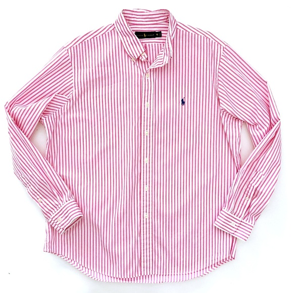 Ralph Lauren Mens Long Sleeve Button Front Shirt NWT XL Pink//White Striped